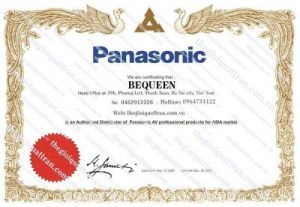 Giấy chứng nhận đại lý Panasonic